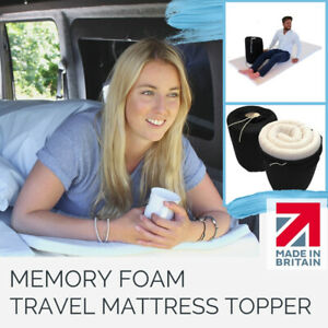HGV Driver Memory Foam Mattress Topper Single/Double washable cover & travel bag