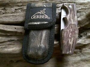 Gerber Portland OR USA 600 Lockback Camo Knife With Camo Sheath