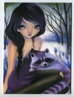 ACEO S/N L/E GOTHIC RAVEN BLACK HAIR GIRL PURPLE HYACINTH RACCOON RARE ART PRINT