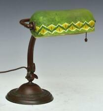 New listing Antique Mosserine Handel Piano / Bankers / Desk Lamp - Hand Painted Handel Shade