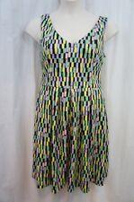Calvin Klein Dress Sz 14 Mint Green Multi Geo Print Pleat Career Cocktail Dress