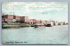 EVANSVILLE IND RIVER FRONT 1907 ANTIQUE POSTCARD