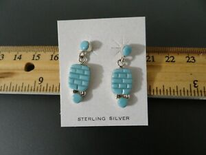 Sterling Turquoise and Malachite Inlay Stud Earrings 2.50 shipping signed Sterling 925