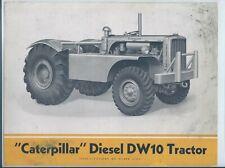 Equipment Data Sheet - Caterpillar - Diesel DW10 Tractor Brochure c1950 (E6165)