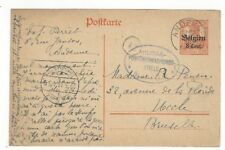 1916 Andenne Belgium Overprinted German Occupation Postal Card to Brusselles