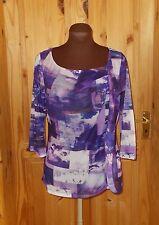PER UNA purple violet white stretch chiffon sheer 3/4 sleeve frill tunic top 12