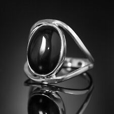Beautiful 925 Sterling Silver Elegant Black Oval ONYX Gemstone Ring Gift Boxed