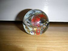 Isle Of Wight Glass Swirl Paperweight Label Attached & Flame Pontil ~ Excellent