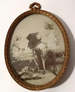 Gold & Copper Wall Picture Frame W/ Sweet Photo Child Teaches Dog Trick Ca 1910