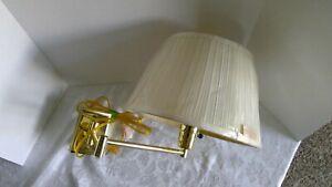 Gold Tone Brass Swing Arm 3-Way Plug-In Wall Lamp Fabric Shade, Bedside, EUC