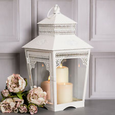 Large White Metal Lantern Candle Holder Tea Light Ornate Country Vintage Wedding