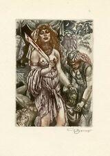 """""""Salome"""" Nude, Mythology Ex libris Etching by David Bekker, Ukraine"""
