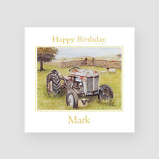 Personalised Handmade Countryside Birthday Card - For Him, Dad, Husband, Tractor