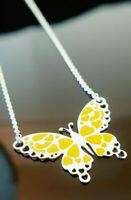 Ladies 925 Sterling Silver Yellow Enamelled Butterfly Necklace Chain Pendant 18""