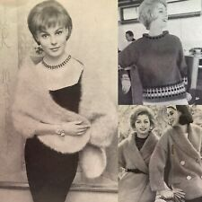Vintage 1960s Mohair Stole Fair Isle Cossack Hat Patons 627 Knitting Pattern