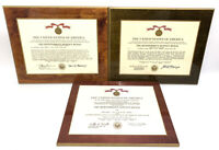 US ARMY CERTIFICATE LAMINATED PLAQUE FOLEY MERITORIOUS SERVICE DATED 1972-82 LOT