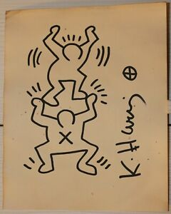 Ink drawing signed KEITH HARING
