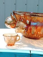 INDIANA  Carnival Glass Princess Grape & Leaf Punch Bowl Set- Iridescent Amber