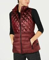 Calvin Klein Womens Quilted Down Vest Metallic Bordeaux