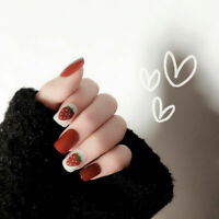 24Pcs Red False Nail Art Tips Strawberry Lovely Fake Nails Manicure Full Cover
