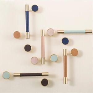Solid Brass Leather Cabinet Door Handles Colorful Dresser Drawer Knobs Pulls