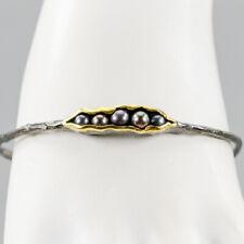 Handmade Natural Pearl 925 Sterling Silver Bangle Inches 2.75/BA01526