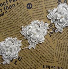 5x Vintage Flower Pearl Lace Edge Trim Wedding Ribbon Applique DIY Sewing Craft