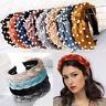 Ladies Pearl Velvet Tie Hairband Headband Knot Alice Band Hair Hoop Accessories