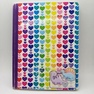 Lisa Frank Queen Of Color Hearts Notebook. Written on and stickers. UGLY!