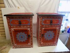 Moroccan Hand Painted Nightstand Wood Table Arabic Design Red Set of 2