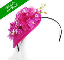 Beautiful Fascinator HAND MADE- Hat Race Hot Pink for Racing and Events