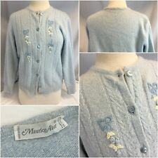 Maurice Abot Cardigan Sweater M Blue Wool Angora Floral Made Italy Ygi H8-380