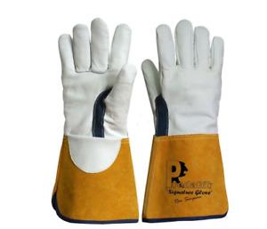 Leather gauntlet gardening gloves 1 size 10 L/XL