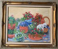 "Sandra Mortimore ORIGINAL OIL Floral PAINTING ""Lamb in Garden"" Signed"