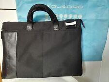 Cartella PIQUADRO. Borsa porta computer, pelle e tessuto - Bag laptop briefcase