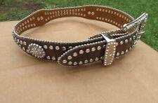 Nocona Belt Co. Girls Rhinestones Concho Brown Embossed Leather Belt Size 20