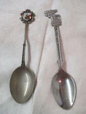 Vintage 2 Souvenir Spoons Banff Canada Moose & Mexico Bullfighter