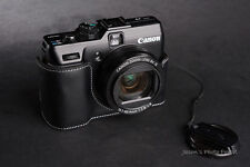 Handmade Black Genuine real Leather Half Camera Case bag cover for Canon G1X