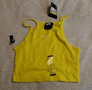 Nike Women's Essentials Square Neck Tank Top SV3 Yellow Small NWT