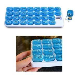 31 Day Pill Organizer Pill With Pop-Out Pods Travel Medicine Storage Dispenser