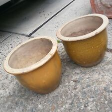 2 Similar but not the same Tan Glazed Ceramic Plant Pots