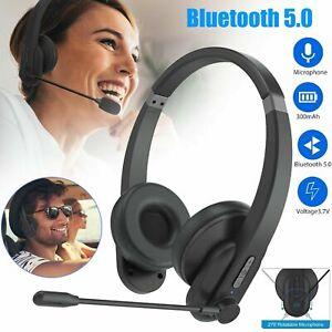 Bluetooth 5.0 Office Trucker Headphone Noise Cancelling Handsfree Headset w/Mic