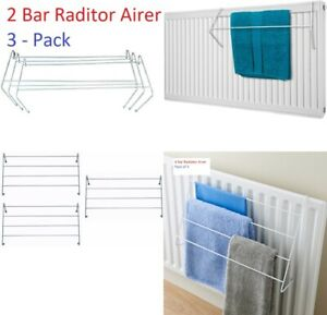 3 Pack 2/4 Bar Radiator Airer Dryer Clothes Drying Rack Rail Towel Holder Hanger