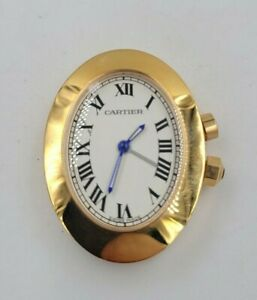 CARTIER [2752] Table Desktop Travel Alarm Clock Gold Plated Quartz Watch Working