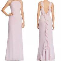 NWT Aidan Mattox Womens Pink Ruffled Halter Evening Dress Gown Size 0 (BHFO1701)