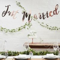 Just Married Rose Gold Bunting Banner Wedding Decoration Garland Backdrop - 1.5m