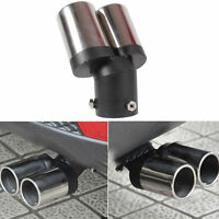Car Chrome Curved Round Dual Muffler Tip Trim Double Exhaust Silencer Tailpipe