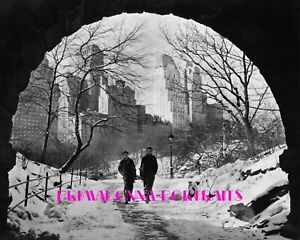 1944 NEW YORK CITY LIFE 8X10 Lab Photo Two Boys Sledding CENTRAL PARK Snow Day