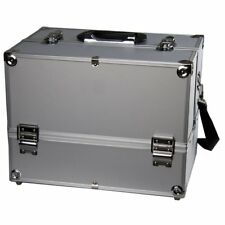 """Makeup Train Case -14"""" Large Cosmetic Organizer Box """"Adjustable Dividers"""" Silver"""