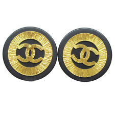 CHANEL Huge Button Motif Earrings Black Clip-On 29 Accessories 32468